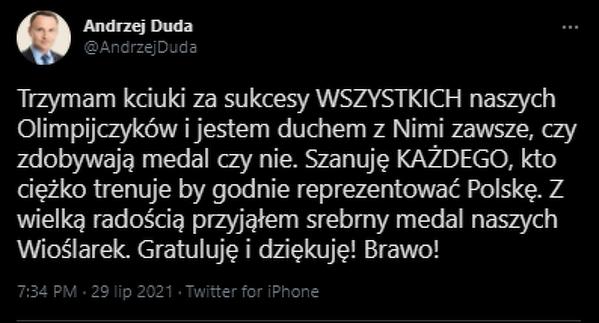 Prezydent pogratulował srebrnym wioślarkom